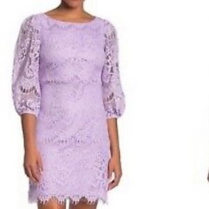 Eliza J balloon sleeve lilac lace dress NWT 4
